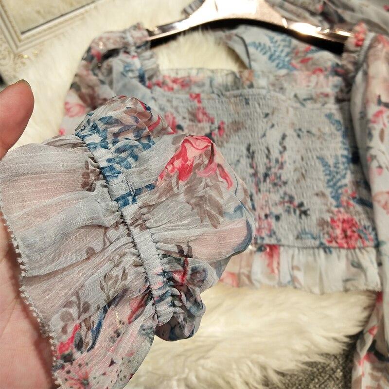Nouveau pantalon en mousseline de soie imprimé en bois oreille veste un caractère épaule élastique large jambes pantalon plage vacances pantalon - 3