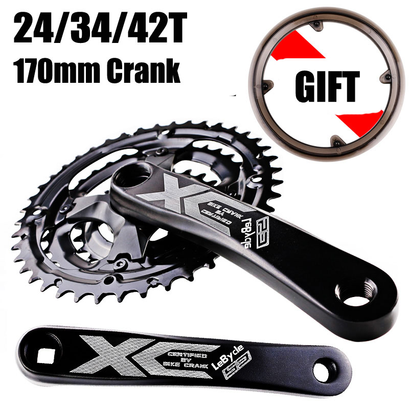 170MM Crankset Mountain Bike 6 7 8 Speed Hollow Integrated Crankset 24 34 42T Road Bike
