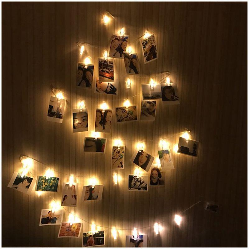 Photo Clips <font><b>String</b></font> <font><b>Lights</b></font> <font><b>Battery</b></font> Powered, 20 <font><b>LED</b></font> 10ft for Hanging Photos, Cards &#8211; Warm White