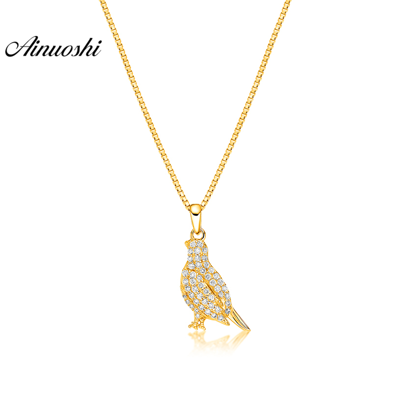 купить AINUOSHI 10K Solid Yellow Gold Pendant Shining Bird Pendant SONA Diamond Women Men Children Jewelry Cute Animal Separate Pendant недорого