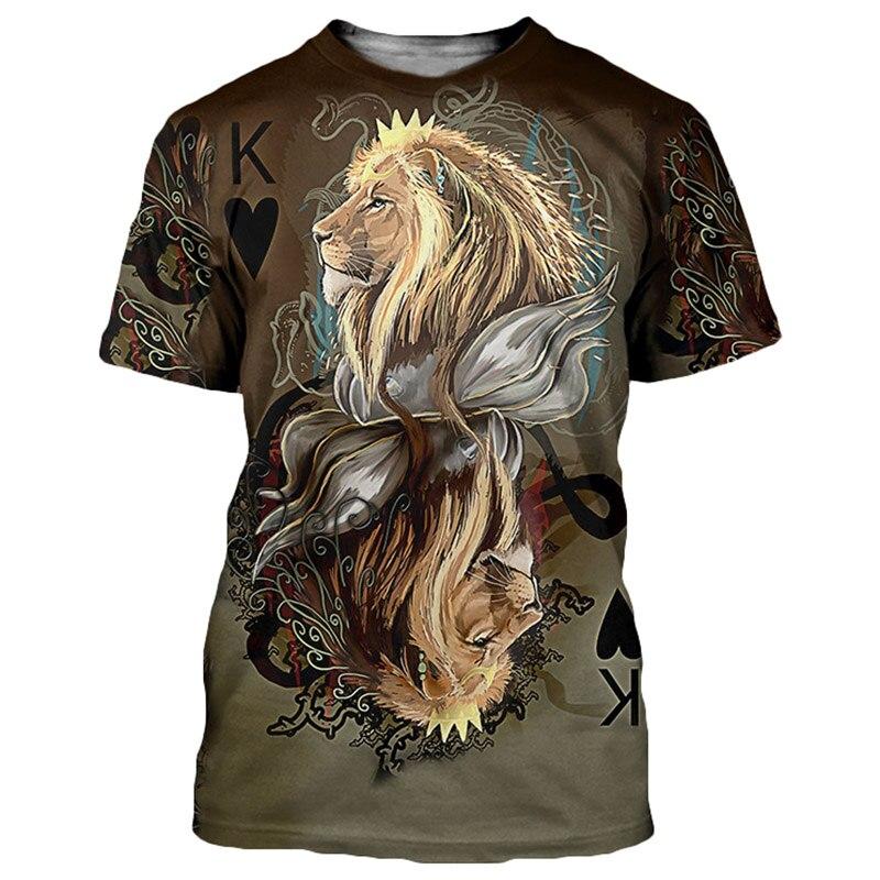 Cloudstyle 2019 3D T-shirt Männer Frauen Poker King Lions Lamm 3D Drucken Kurze Ärmel Tees Shirts Sommer Tops Streetwear Harajuku