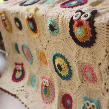 hot sale white owl pattern DIY original Hand hooked fashion crochet blanket cushion felt pastoral style