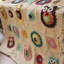 hot sale white owl pattern DIY original Hand hooked fashion crochet blanket cushion felt pastoral style gift