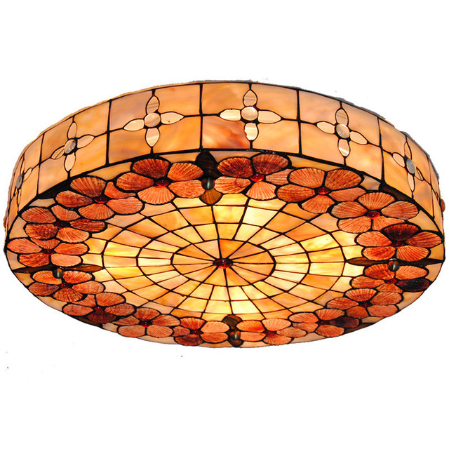 Tiffany Style Stained Glass Ceiling Lamp Modern Vintage Flower Pattern Shade Flsh Mount Light Dining Room