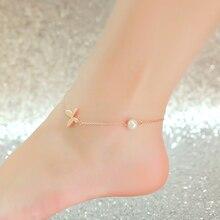Высокое качество 18KGP роуз позолоченные титана стали бабочки жемчуг ножной браслет мода марка украшения для женщин бесплатная доставка ( GA046 )