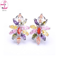 ZHE FAN Colorful Flower Earrings AAA Cubic Zirconia Cute Stud Earring Copper Queen Party Gift Korean