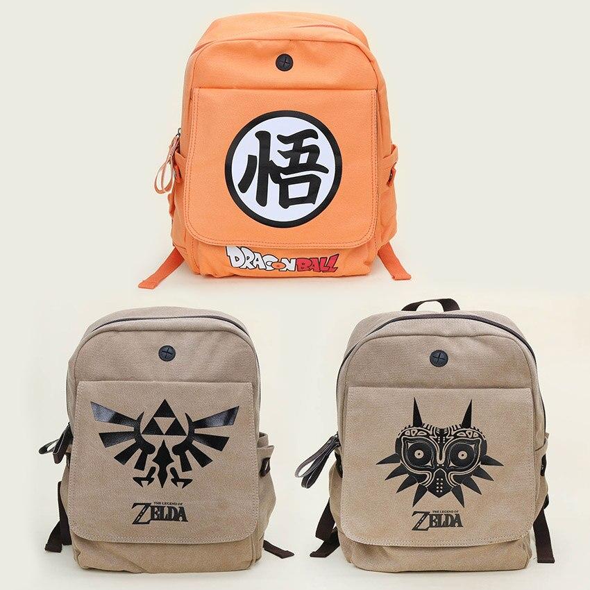 Dragon Ball Z The Legend of Zelda Backpack Goku Link Canvas Unisex Backpacks School Travel Satchel Shoulder Daypacks Bag 35*40cm