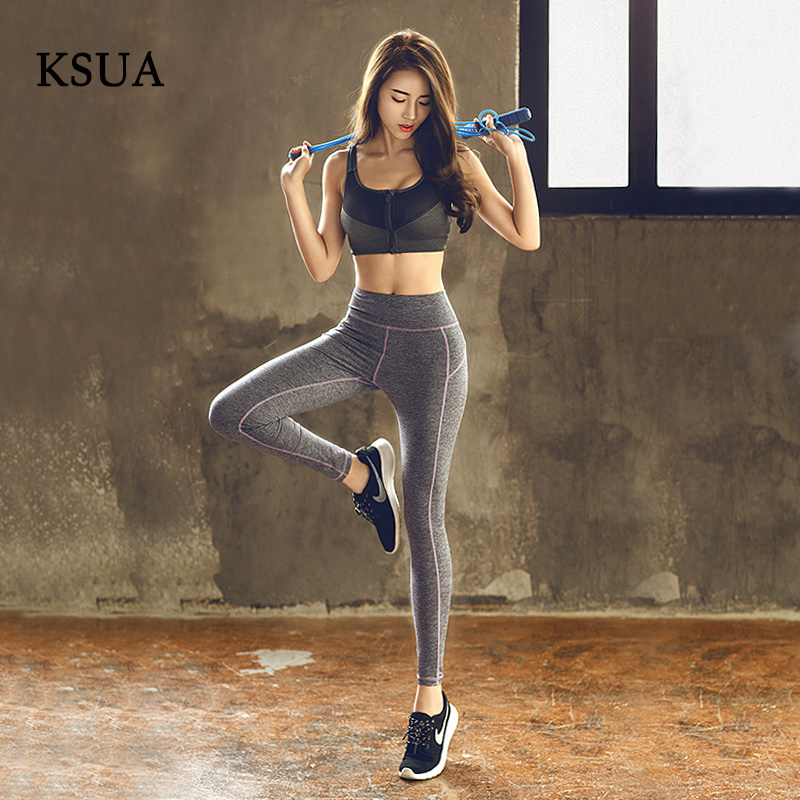 KSUA Yoga Pants For Women High Waist Polyester Top Quality Brand Woman's Fitness Leggings Breathable Pantalon Yoga Free Shipping ksua 5mm linen yoga mat high quality fitness professional slip resistant yoga mats exercise sports mat