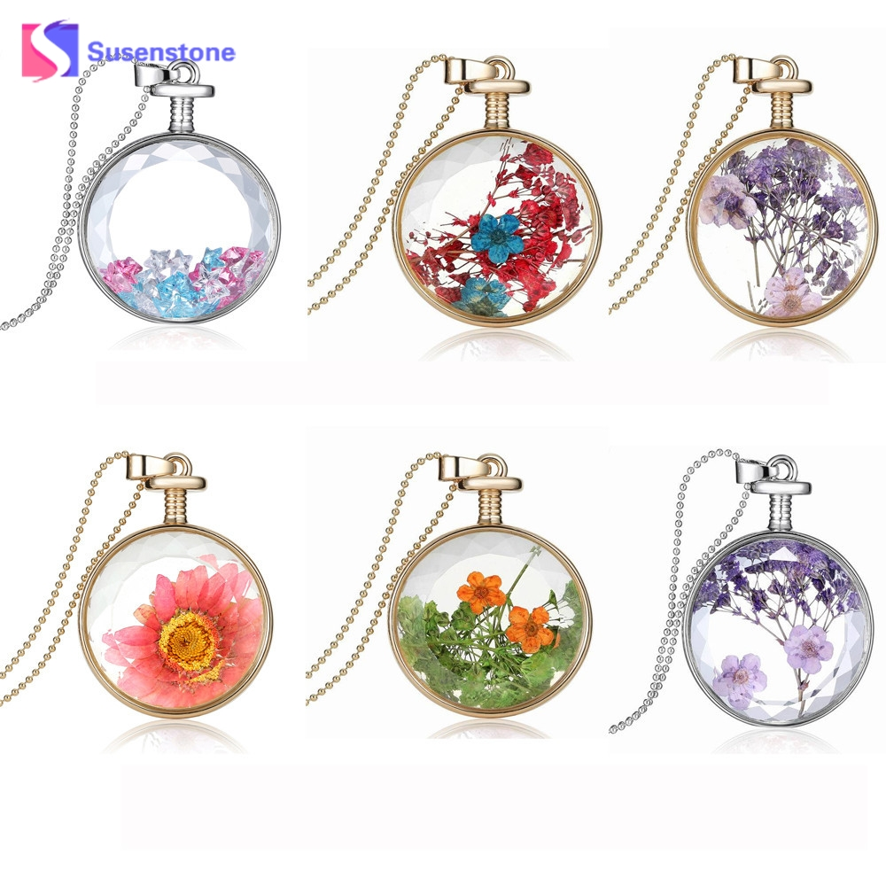 susenstoneWholesale New Womens Jewelry Women Dry Flower Transparent Crystal Wishing Bottle Pendant Necklaces Gils Ladies #0412 ...