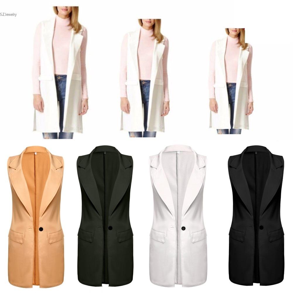 c82476e8a4 Longo Sem Mangas Mulheres Vest Jacket Mulheres Blazer Feminino Outono  Coletes Femme Moda Botão Colete Mulheres Negras Casacos Outwear Casuais em  Coletes ...