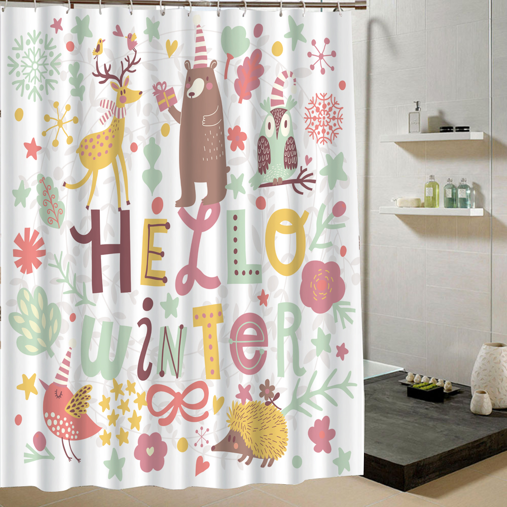cute bathroom shower curtain animal pattern polyester faric curtain for bath product in shower. Black Bedroom Furniture Sets. Home Design Ideas