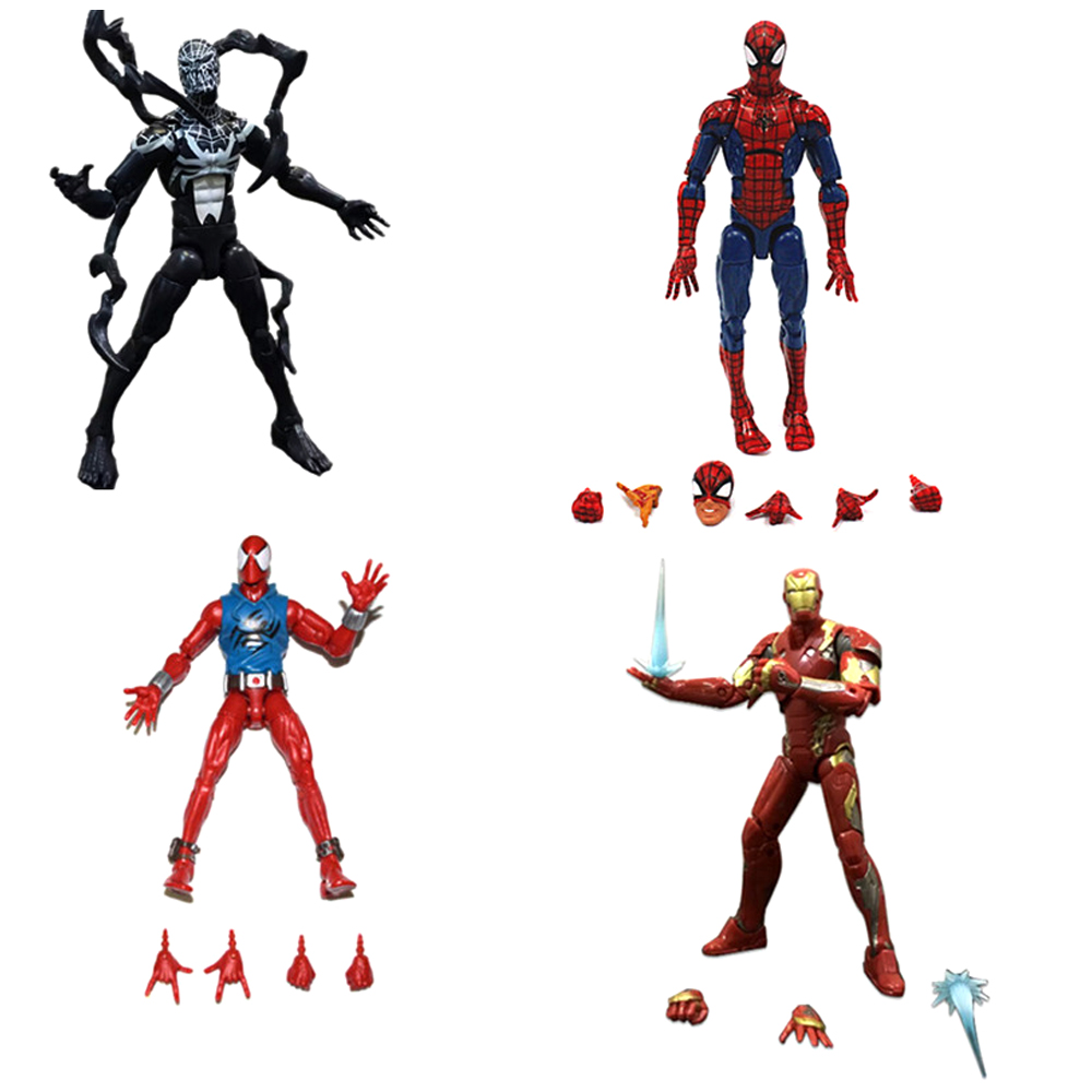 Marvel Legends Star Wars Toy Pizza Spiderman Venom SCARLET SPIDER Iron Man Action Figure Model Toys Gift Dolls without box neca marvel legends venom pvc action figure collectible model toy 7 18cm kt3137
