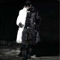 New Men Fur Coat Winter Plus Size Faux Fur Coat Men Punk Parka Jackets Full Length Leather Overcoats Long Fur Coat Man