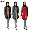 Мусульманские длинные рубашки Турецкие Женщины Блузка одежда Исламская Девушку Топы Мусульманского арабские дубай кафтан леди Блузки рубашки Плюс размер красный