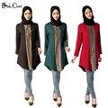 Camisa longo muçulmano Turco Mulheres roupas Blusa Mulher Tops Musulmane Islâmico árabe dubai kaftan lady Blusas camisas Plus Size vermelho