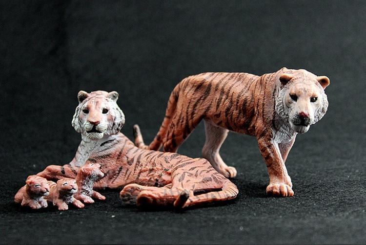 5pcs/set  Simulation model toy scene Decoration bengal tiger family ornaments wild animal solid pvc figure