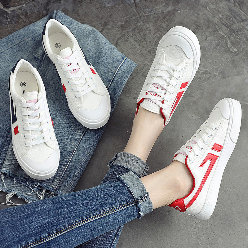 MEIL 2018 New Spring and Summer With White Shoes Women Flat Canvas Shoes Female White Board Casual Shoes Female in Women 39 s Vulcanize Shoes from Shoes