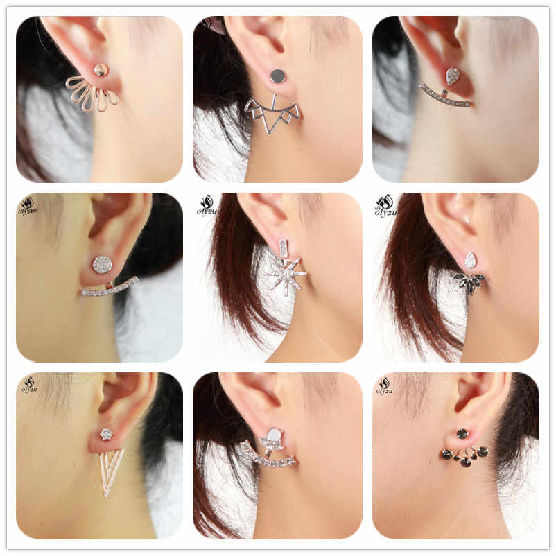 Oly2u Full Crystal Bar Earrings Ear Jackets for Women Heart Zircon Ear Jackets Earrings climber Front back  boucle oreille homme
