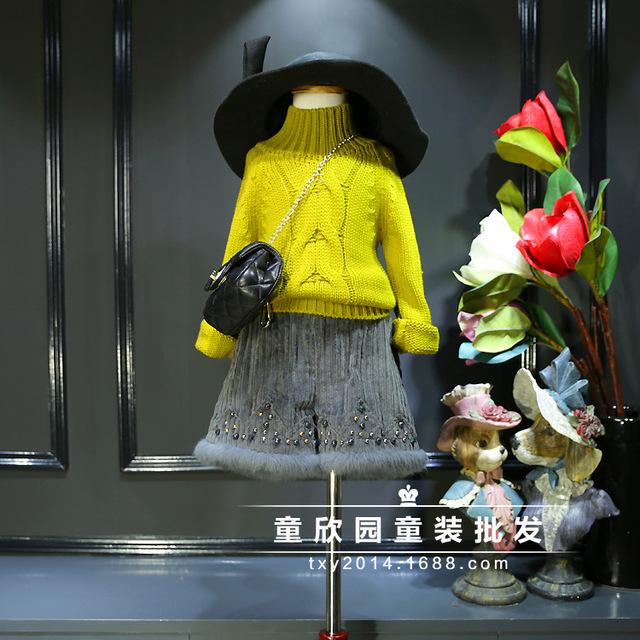 Sul Coreano crianças do sexo feminino 2016 Meninas Super Roupas de Inverno NEW Coréia cheiro torção manga raglan camisola de gola alta