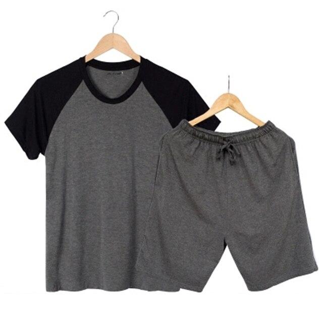Для мужчин Одежда для летние пижамы комплекты с коротким рукавом модальные тонкий Домашняя одежда свободные большие размеры Повседневная Пижама Штаны