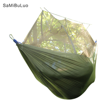 Camping Hammock Lightweight Portable Double Parachute Hammocks Mosquito Nylon Hammock for Indoor Outdoor Hiking Camping Backpack цена в Москве и Питере