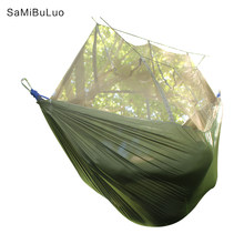 Camping Hammock Lightweight Portable Double Parachute Hammocks Mosquito Nylon Hammock for Indoor Outdoor Hiking Camping Backpack(China)