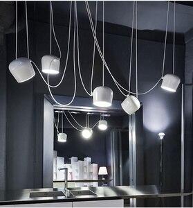 Image 3 - 북유럽 성격 DIY 스파이더 펜던트 램프 화이트 또는 블랙 드럼 그늘 펜던트 라이트 현대 조절 교수형 드럼 전등