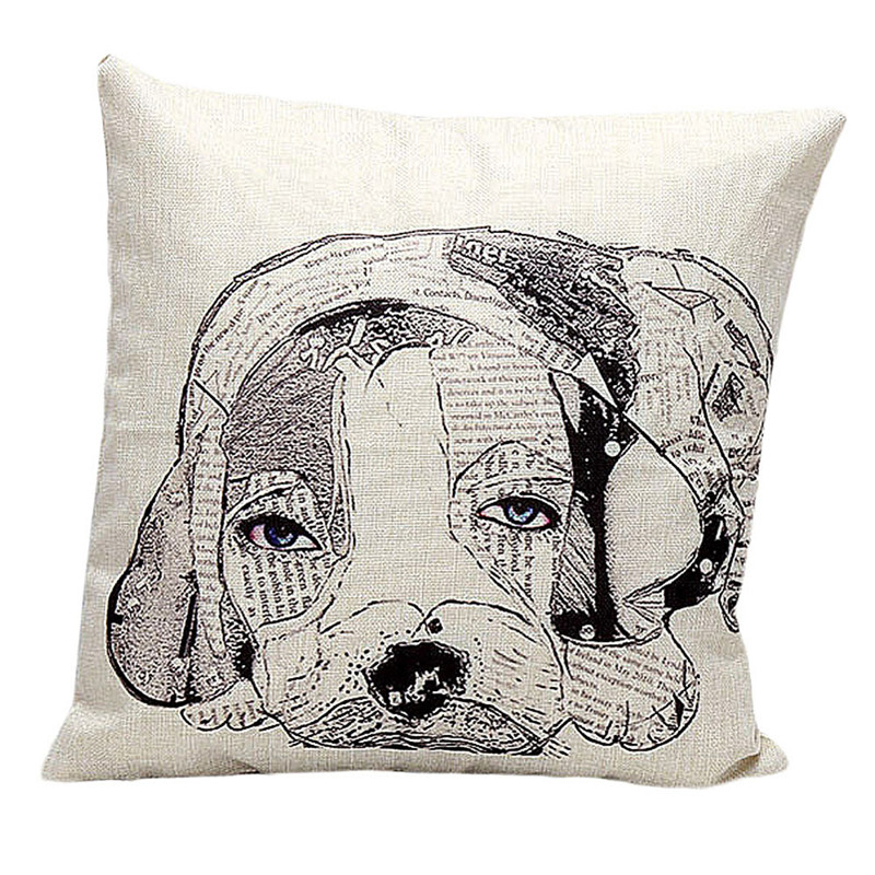 new small letters cartoon dog pillow cover slip vintage retro animal pattern cushion slip waist pillow case square shape on sale