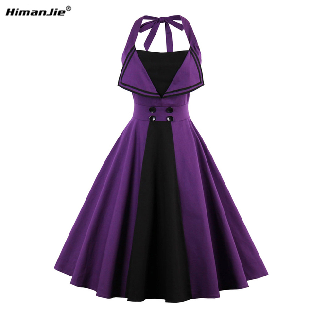 HimanJie Vintage 50s 60s Rockabilly Summer Dress 2017 Sexy Halter Women  Dress Robe Plus Size Pin d4ac6921f048