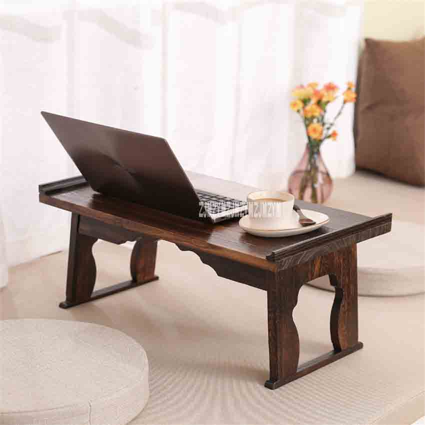 Japanese Style Antique Small Tea Table Folding Legs Rectangle Paulownia Wood Traditional Asian Furniture Living Room Low Table
