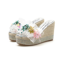 Single cusp shoe String Bead platform sandals Peep Toe Rome slipper gladiator Floral women shoes rhinestones wedge High Lace