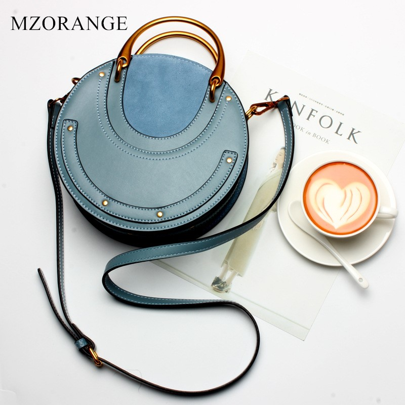 MZORANGEO Vintage Nubuck Genuine Leather Woman Handbag Fashion Metal ring Rivet Lady Tote Shoulder Messenger Bag Small Round Bag 2018 new style genuine leather woman handbag vintage metal ring cloe shoulder bag ladies casual tote fashion chain crossbody bag