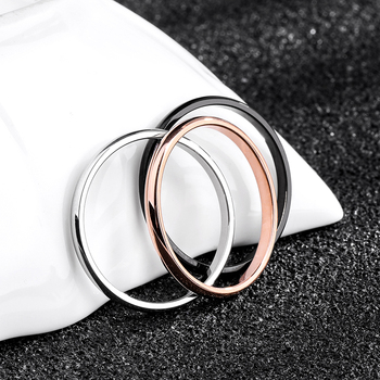 KNOCK Titanium Steel Rose Gold Anti-allergy Smooth Simple Wedding Couples Rings 3