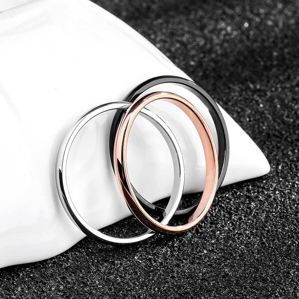 Тук титановая сталь Розовое золото антиаллергенные гладкие Простые Свадебные Кольца для пар бижутерия для мужчин или женщин подарок