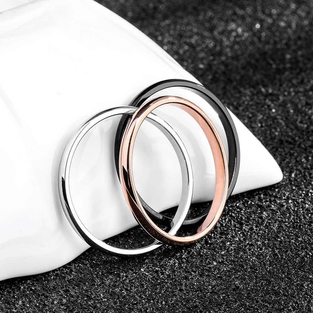 Frapper titane acier or Rose Anti-allergie lisse Simple mariage Couples anneaux Bijouterie pour homme ou femme cadeau