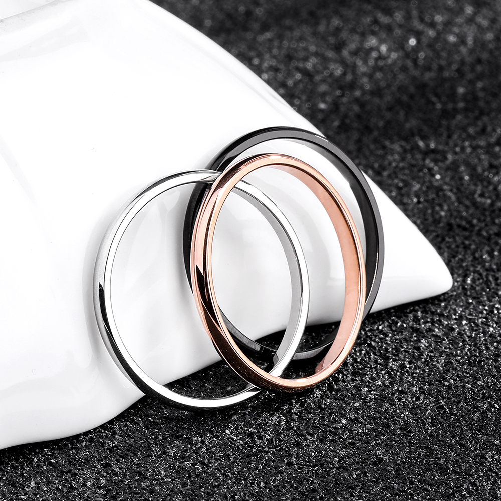 KNOCK Titanium Steel Rose Gold Anti allergy Smooth Simple Wedding Couples Rings Bijouterie for Man or