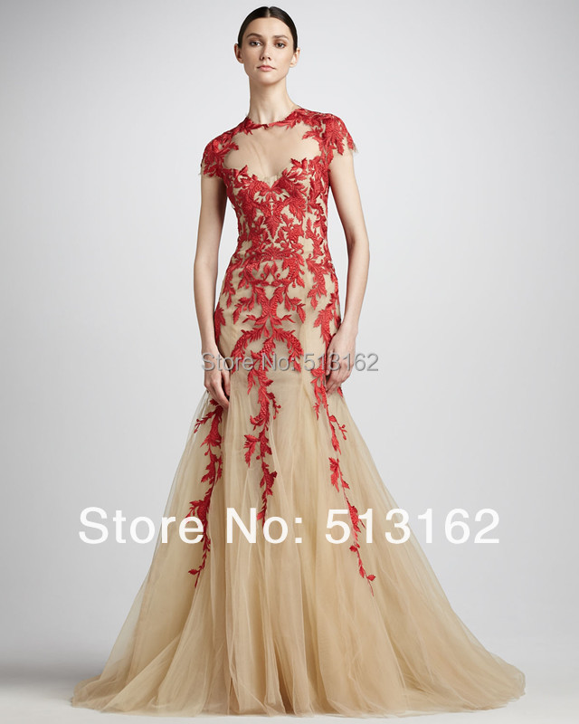Hot Fashionable Red Lace Applique Fashion Evening Dresses Designer ...