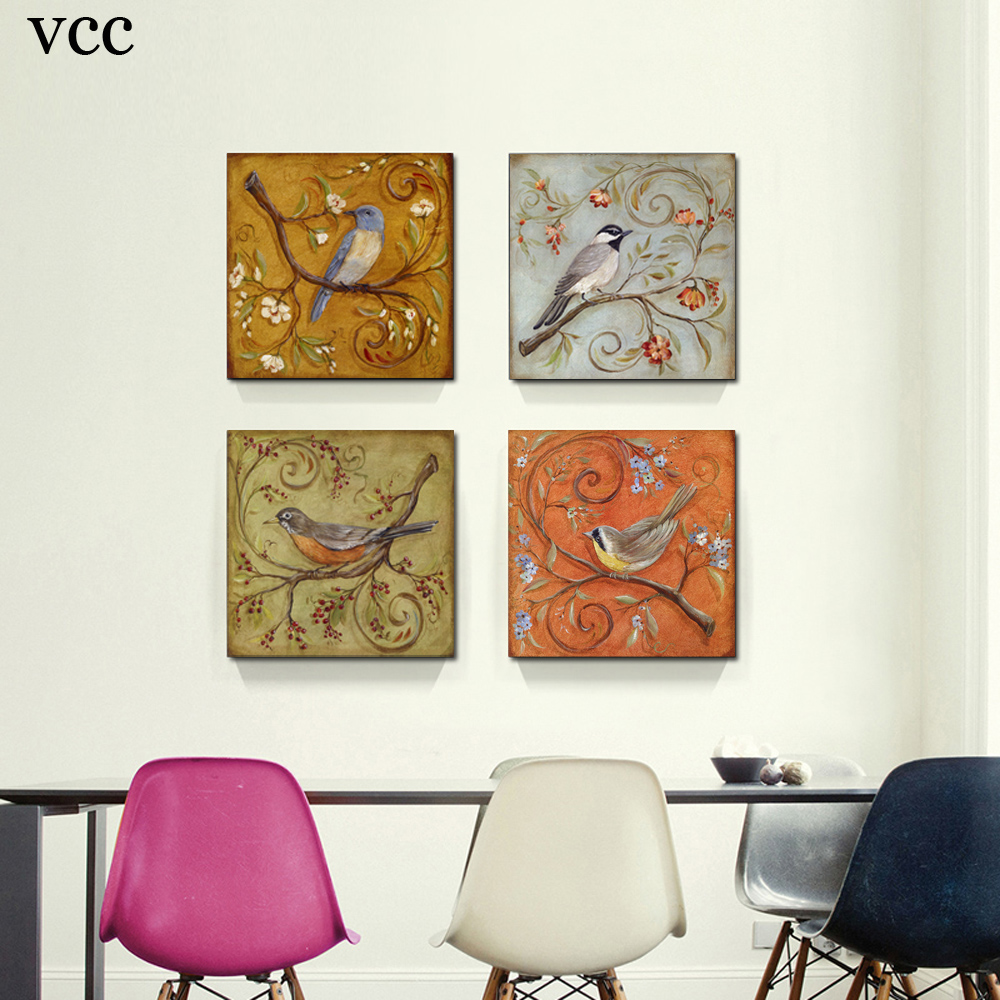 birds on the tree wall art canvas painting wall pictures