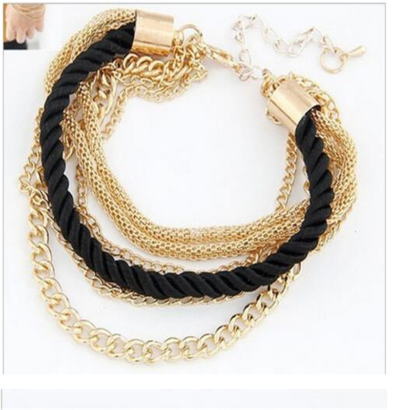 069be5eaa4832 US $1.2 |2017 New European Bracelet Low Profile luxury Multi layer Woven  Rope Metal Mixed Chain All match Women Bracelet &Bangle JQ311-in Chain &  Link ...