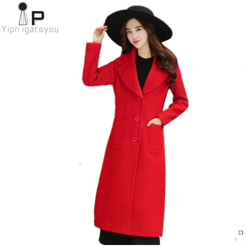 army rouge Veste Nouvelle 2018 Hiver Manteau Mélange Black rafi Pour Mince Chaud Grande Red Femmes Noir coréen Élégant Blue Laine Taille Mode Sauvage Longues orange xvgI4qI