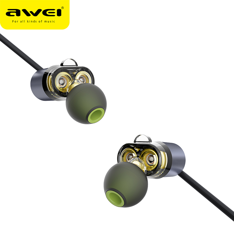 AWEI más X650BL auriculares Bluetooth controlador doble auriculares inalámbricos Bluetooth auriculares con micrófono Super Bass auriculares para iPhone