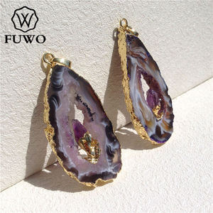 Image 3 - FUWO Natural Geode Slice Pendant 24K Gold Electroplated Raw Crystal With Fixed Purple Quartz Charm Jewelry Wholesale PD083