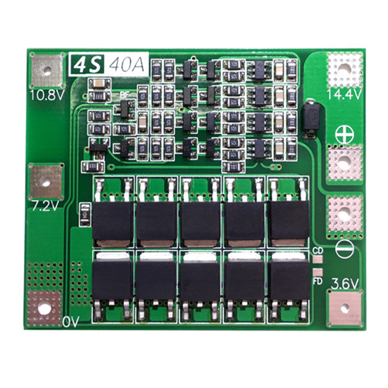 4S 40A 14.8 16.8V 18650 LiFePO4 BMS/ Lithium Iron Battery Protection Board With Equalization Start Drill Standard