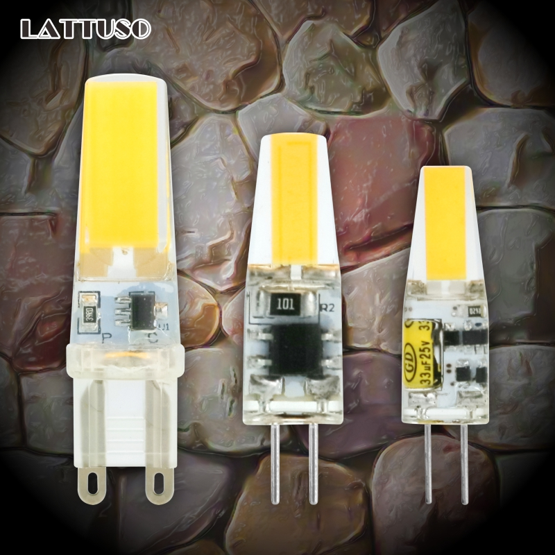 LATTUSO LED G4 G9 Lamp Bulb AC/DC Dimming 12V 220V 3W 6W 9W COB SMD LED Lighting Lights replace Halogen Spotlight Chandelier