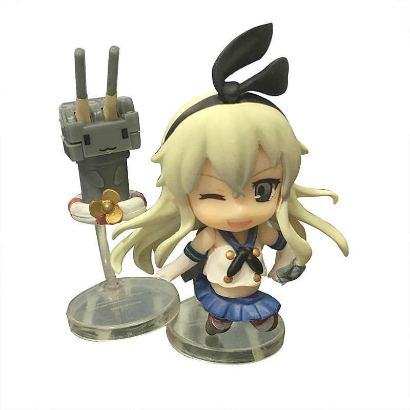 Anime Kantai Collection Shimakaze Rensouhou-chan Kawaii PVC Action Figures Collectible Model Toys Nendoroid Doll 8CM