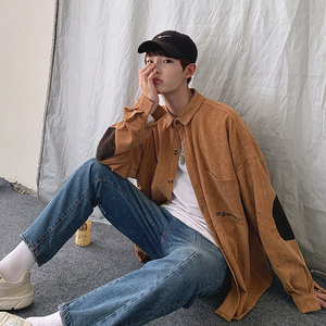 Image 4 - 2019 Autumn Mens Korean Version Of The Trend Loose Literary Solid Color Student Casual Long sleeved Corduroy Embroidered Shirt
