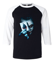 Joker Heath Ledger Vintage Batman 2 Fashion Tshirt 2017 Summer Hot Sale 3 4 Sleeve T