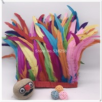 New arrive mix color 2m/lot 12 14inches 30 35cm height Coque Tail Fringes Rooster feather trim rooster tail trimming ribbon