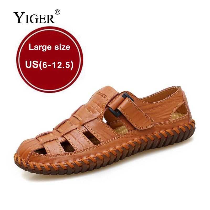 YIGER NEW Mænds Ægte Læder Sandaler Casual Beach Shoes Oxford - Mænds sko