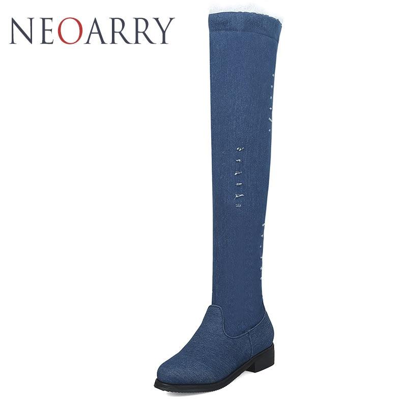 Noir Long Blue Creux Blue Denim Style Talon Fringe Bleu Femme dark light Chaussures Neoarry Western Bas Carré Genou Sexy Sur Le Jean Bottes qn4wxI0UfR